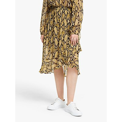 Second Female Snake Print Ruffle Midi Skirt, Chai Tea