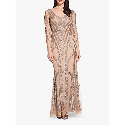 Adrianna Papell Beaded Maxi Dress, Champagne/Silver