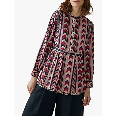 Toast Chevron Printed Tiered Top