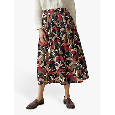 Toast Palm Print Cotton Poplin Skirt, Olive