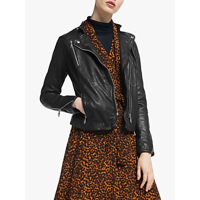 Gestuz Joanna Leather Biker Jacket, Black