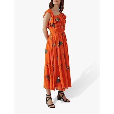 Karen Millen One Shoulder Midi Dress, Red/Multi