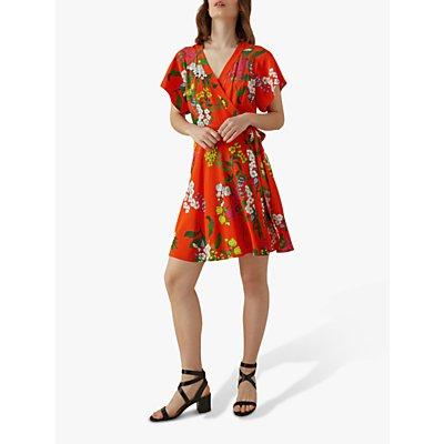 Karen Millen Silk Floral Wrap Dress, Red/Multi