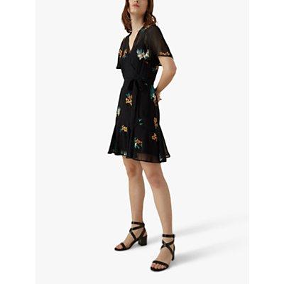 Karen Millen Floral Embroidered Dress, Black/Multi