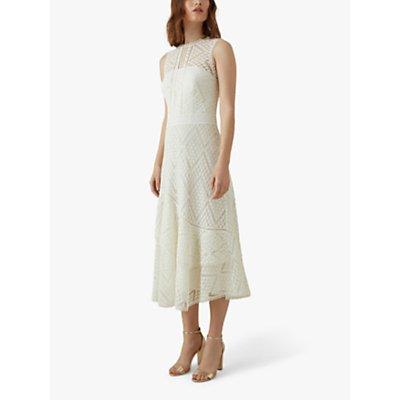 Karen Millen Chevron Lace Midi Dress, White
