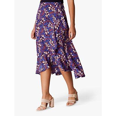 Karen Millen Printed Silk Midi Skirt, Blue/Multi