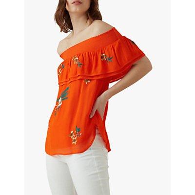 Karen Millen Embroidered Bardot Top, Red/Multi