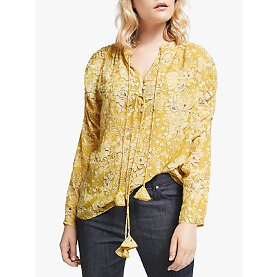 AND/OR Veronique Floral Print Blouse, Yellow