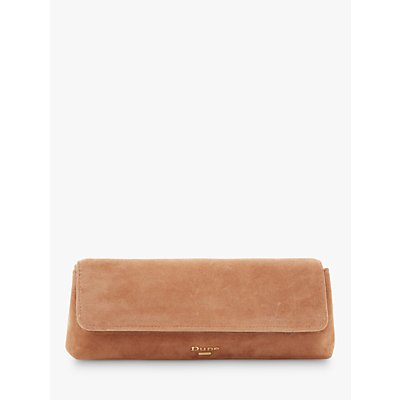 Dune Belong Suede Slim Clutch Bag, Camel