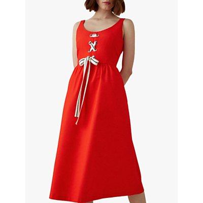 Karen Millen Lace-Up Midi Dress, Red