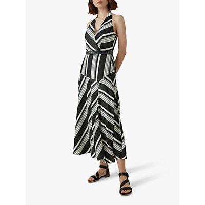 Karen Millen Striped Halterneck Midi Dress, Black/White