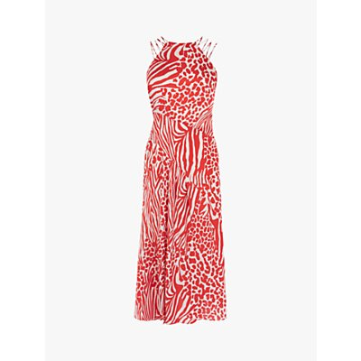 Karen Millen Animal Print Midi Dress, Red/Multi