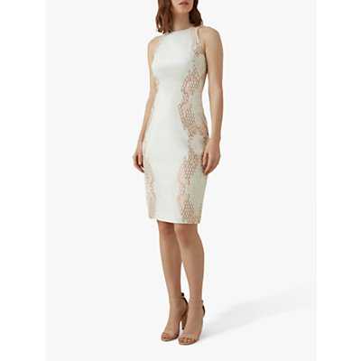 Karen Millen Snake Effect Sleeveless Shift Dress, White/Multi
