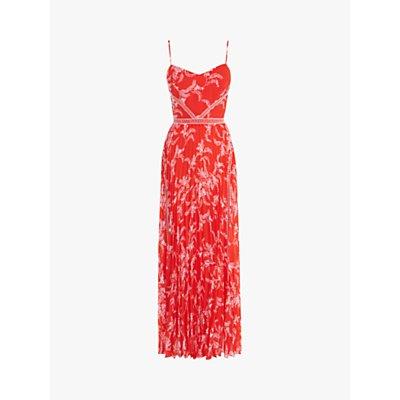 Karen Millen Pleated Floral Maxi Dress, Red/Multi