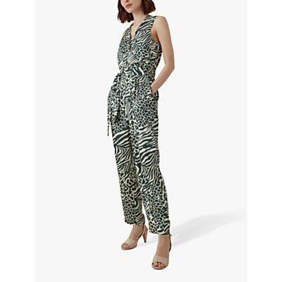Karen Millen Contrast Animal Print Jumpsuit, Green/Multi