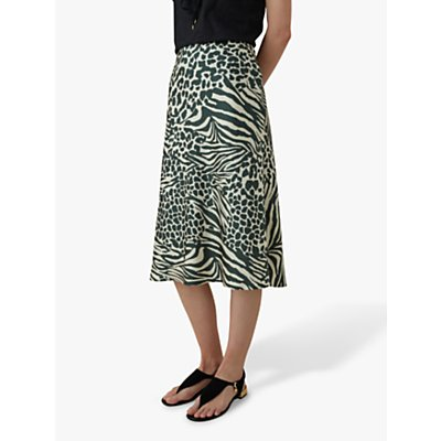 Karen Millen Animal Print Midi Skirt, Green/Multi