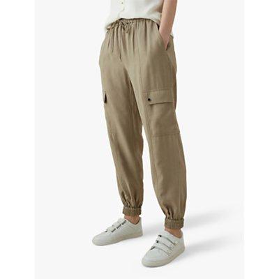 Karen Millen Elasticated Cuff Utility Trousers, Stone