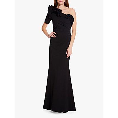 Adrianna Papell Asymmetric Drape Crepe Dress, Black
