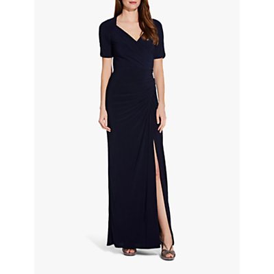 Adrianna Papell Draped Jersey Maxi Dress, Midnight