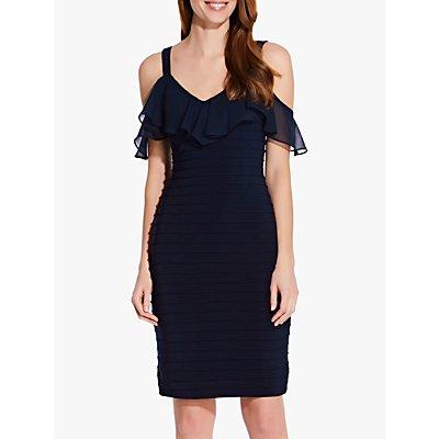 Adrianna Papell Chiffon Detail Textured Jersey Dress, Blue Moon