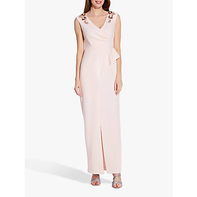 Adrianna Papell Bead and Flower Embellishment Draped Maxi Dress, Satin Blush
