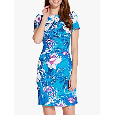 Adrianna Papell Floral Ruched Detail Twill Dress, Turquoise/Multi