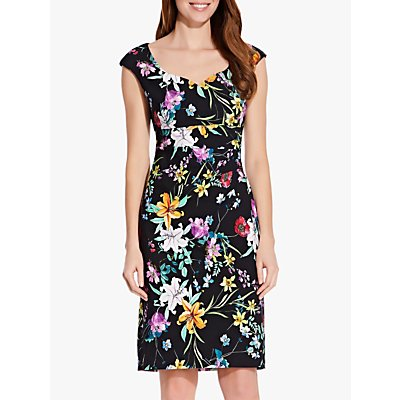 Adrianna Papell Floral Print Sweetheart Neck Dress, Black/Multi