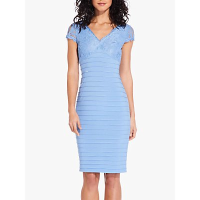 Adrianna Papell Lace Top Banded Shift Dress, Rio Blue