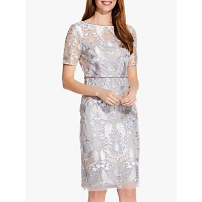 Adrianna Papell Embroidered Pearl Dress, Silver