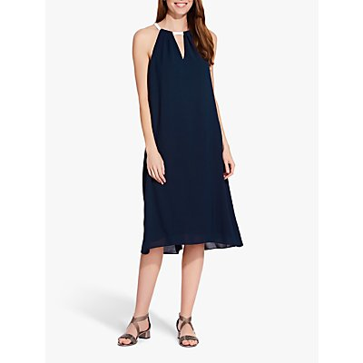 Adrianna Papell Colour Block Trapeze Dress, Blue Moon/Ivory