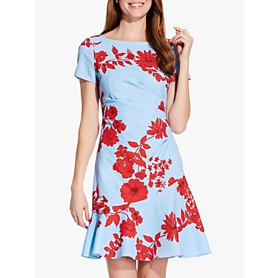 Adrianna Papell Side Drape Floral Flared Dress, Soft Blue/Red