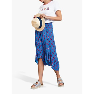 hush Bird Print Frill Hem Skirt, Blue/Pink
