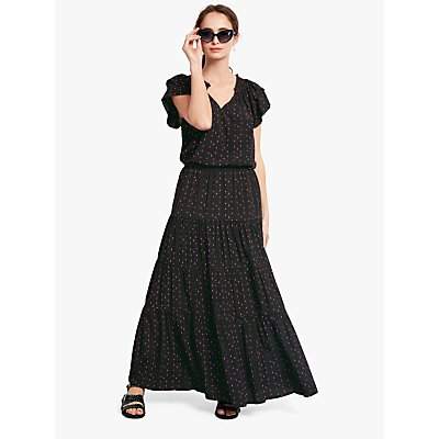 hush Tiered Maxi Skirt, Eyelash Black/Pink