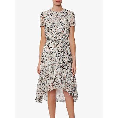 Gina Bacconi Lanaya Abstract Print Chiffon Midi Dress, Coral/Multi