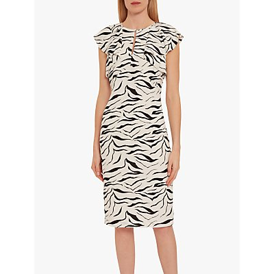 Gina Bacconi Minako Zebra Print Ruffle Cap Sleeve Dress, White/Black