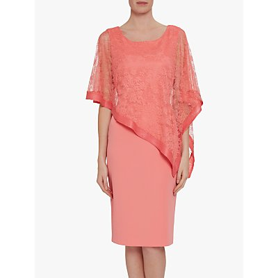 Gina Bacconi Carlotta Lace Overlay Dress, Dahlia Orange