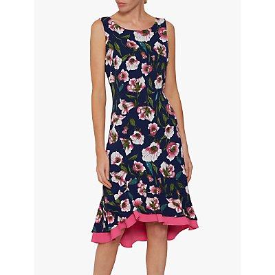 Gina Bacconi Taissa Floral Print Peplum Hem Dress, Navy/Pink