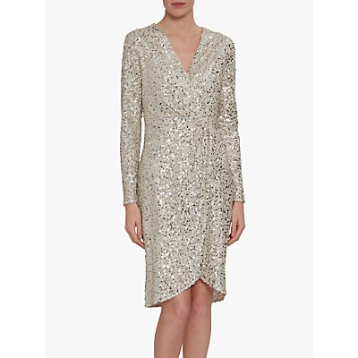 Gina Bacconi Nidia Sequin Dress, Oyster
