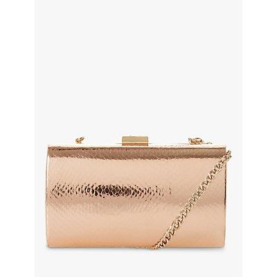 Dune Bustle Croc Effect Clutch Bag, Rose Gold