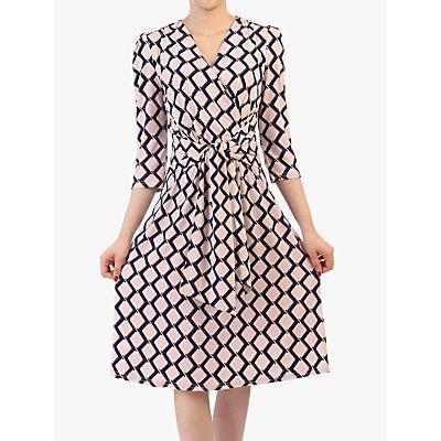 Jolie Moi Tie Front Wrap Dress, Pink Multi
