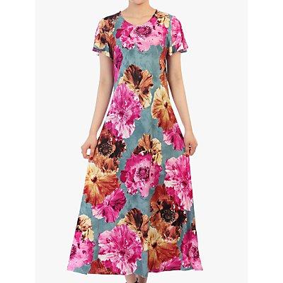 Jolie Moi Floral Print Cap Sleeve Dress, Blue/Multi