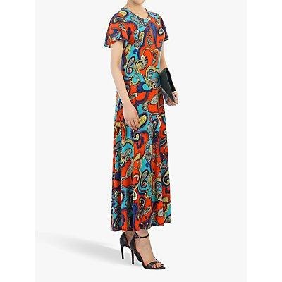 Jolie Moi Printed Cap Sleeve Dress, Red/Multi