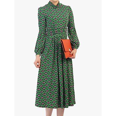 Jolie Moi Geometric Midi Dress, Green/Multi