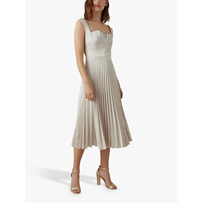 Karen Millen Pleated Satin Dress, Nude