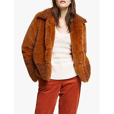 Y.A.S Lucinda Faux Fur Jacket, Brown