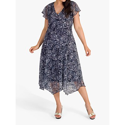 chesca Printed Stretch Lace Jersey Dress, Navy/Ivory