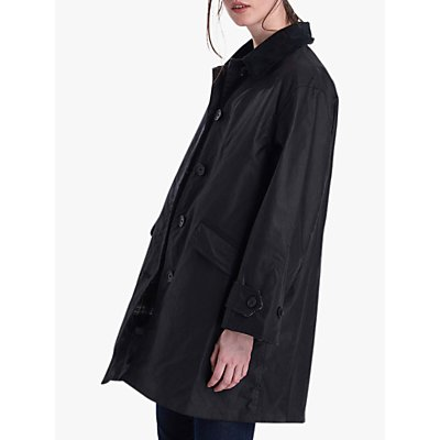 Barbour by ALEXACHUNG Cropped Maisie Waxed Jacket, Black/Dress Gordon