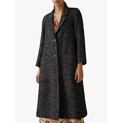 Toast Herringbone Wool Coat, Black