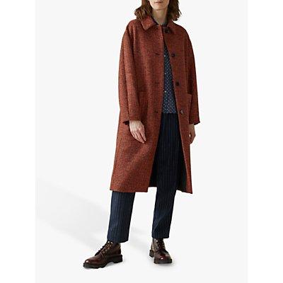 Toast Dogtooth Wool Coat, Orange/Black