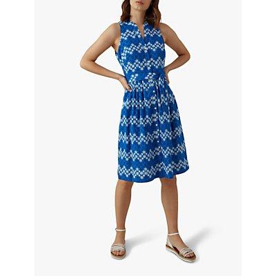 Karen Millen Floral Embroidered Cotton Dress, Blue/Multi